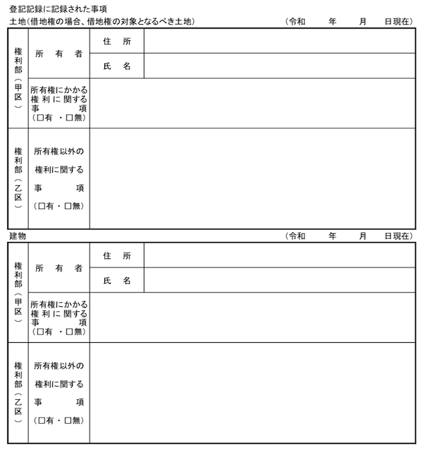 登記記録に記録された事項(土地・建物)
