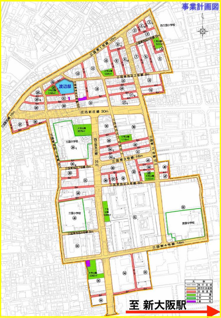 三国東地区土地区画整理事業map