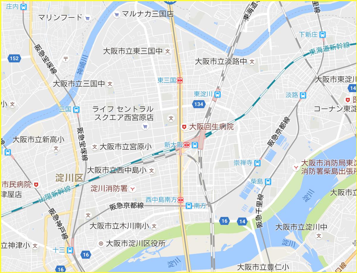 新大阪駅周辺地図
