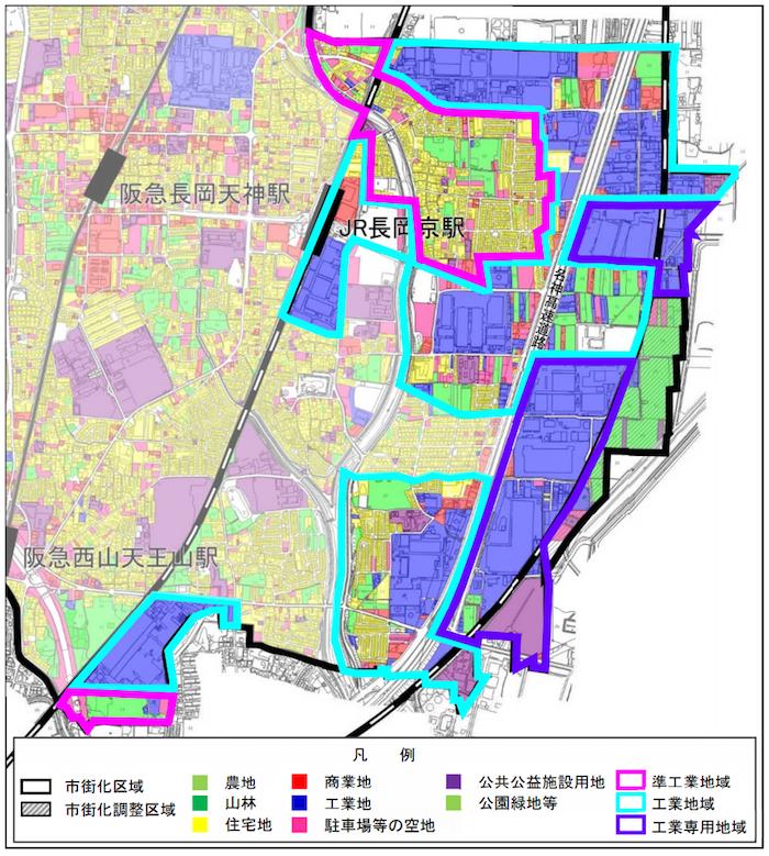 長岡京市工業系用途地域