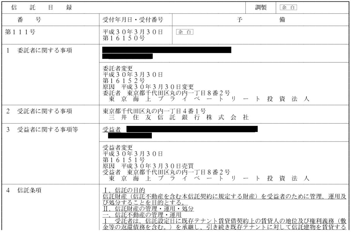 信託目録の例